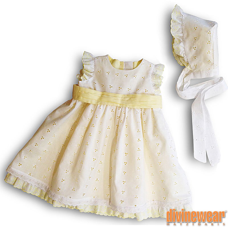 φόρεμα μπροντερί λευκό/κίτρινο