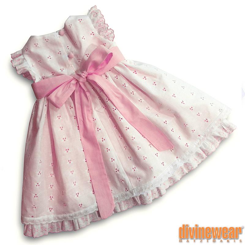 μπροντερι φόρεμα λευκο/ροζ