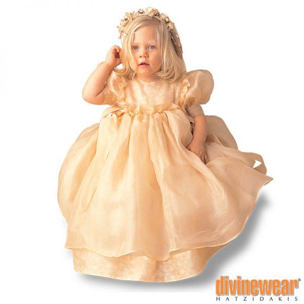 βαπτιστικό φόρεμα οργαντίνα βολάν