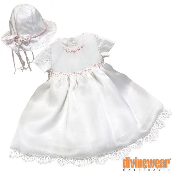 βαπτιστικό φόρεμα με ταφτά και οργάντζα