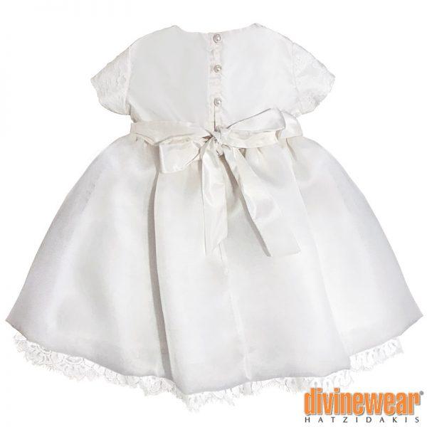 βαπτισικό φόρεμα ταφτάς - οργάντζα πίσω